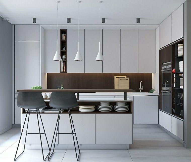 Arredamento moderno, cucina con isola centrale, elettrodomestici da ...