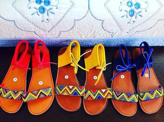 69d66b081 Zulu beaded Summer sandals by ZuluBeads on Etsy Beaded Sandals, Strap  Sandals, Shoes Sandals