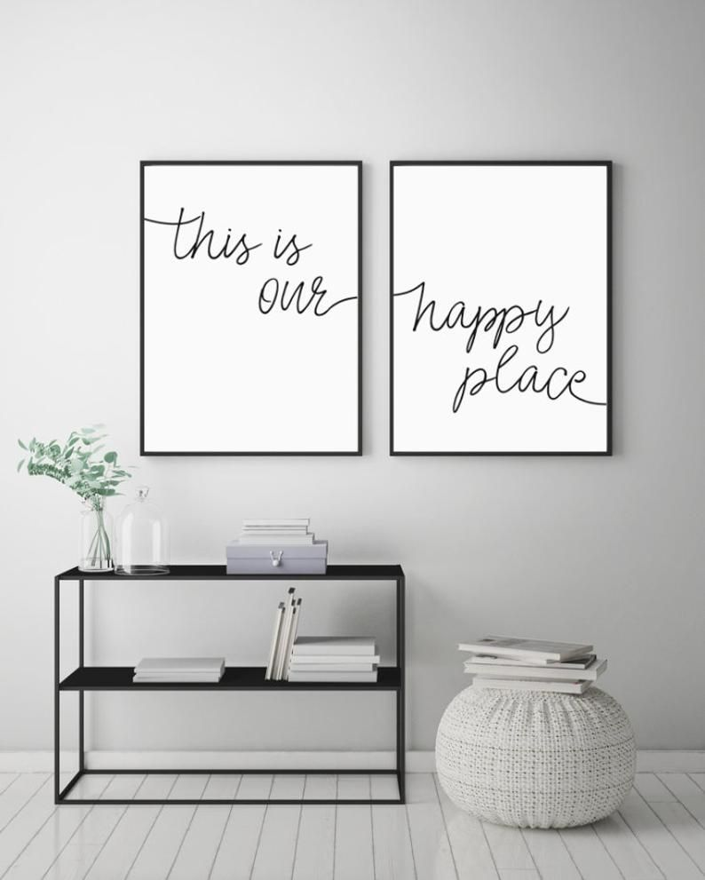 This Is Our Happy Place Printable Sign Set Bedroom Prints Etsy Living Room Poster Room Posters Wall Decor Bedroom