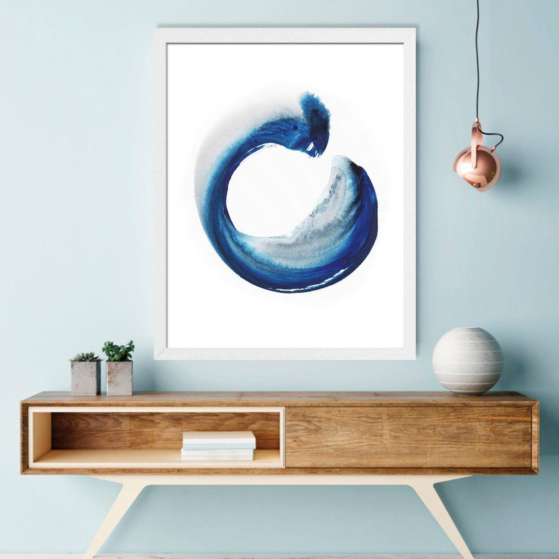 Enso Zen Circle Poster For Meditation Room Blue Zen Painting Etsy Zen Painting Blue Wall Art Zen Painting Art