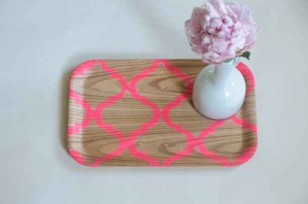 neon pink stenciled tray - 2