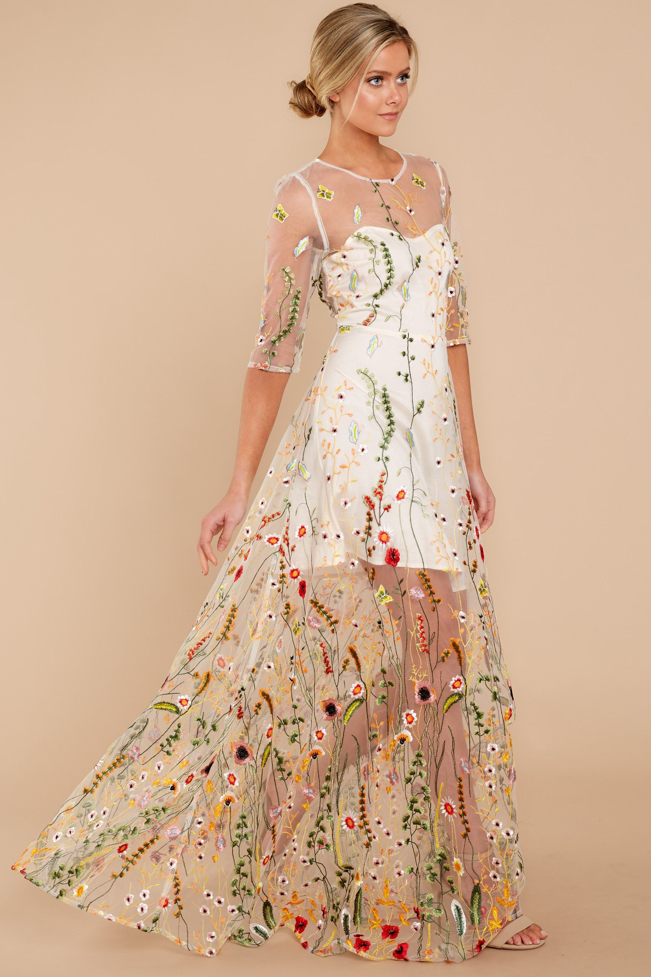 ab0034ed4e172 Catwalk Couture Nude Embroidered Maxi Dress in 2019 | Maxi Skirts ...