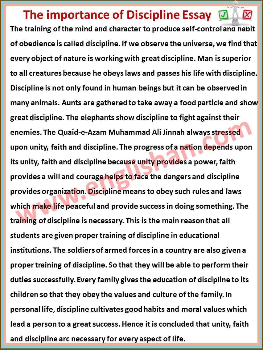 essay about discipline in student life