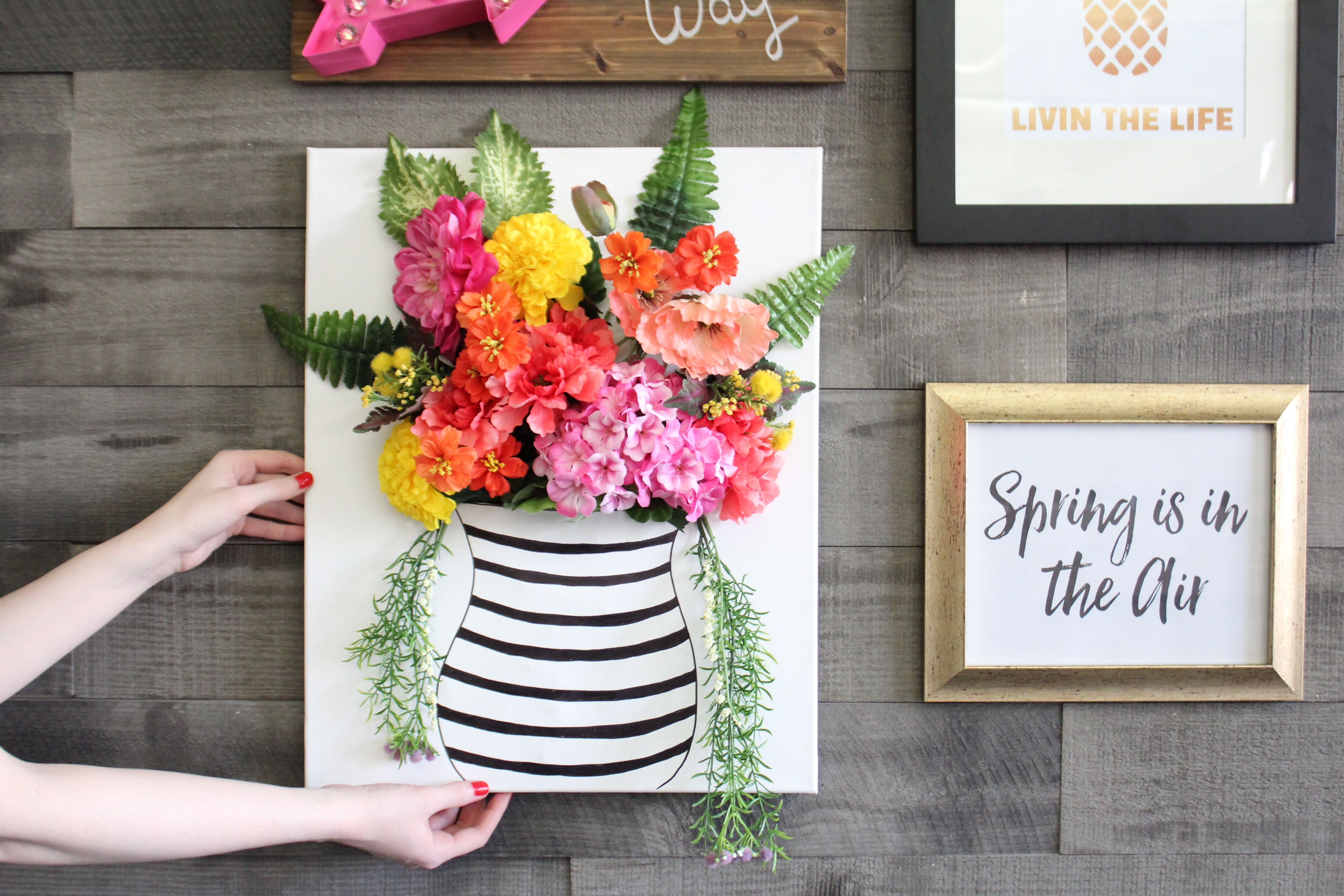 floral wall art also watch how to make your own with this easy diy rh pinterest