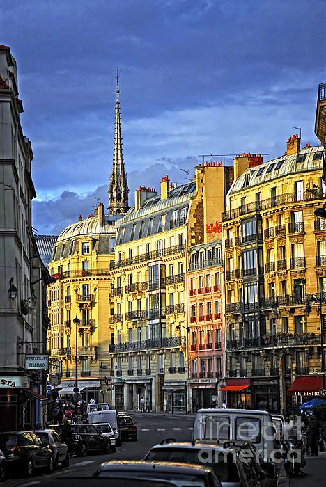 Paris Street At Sunset. France