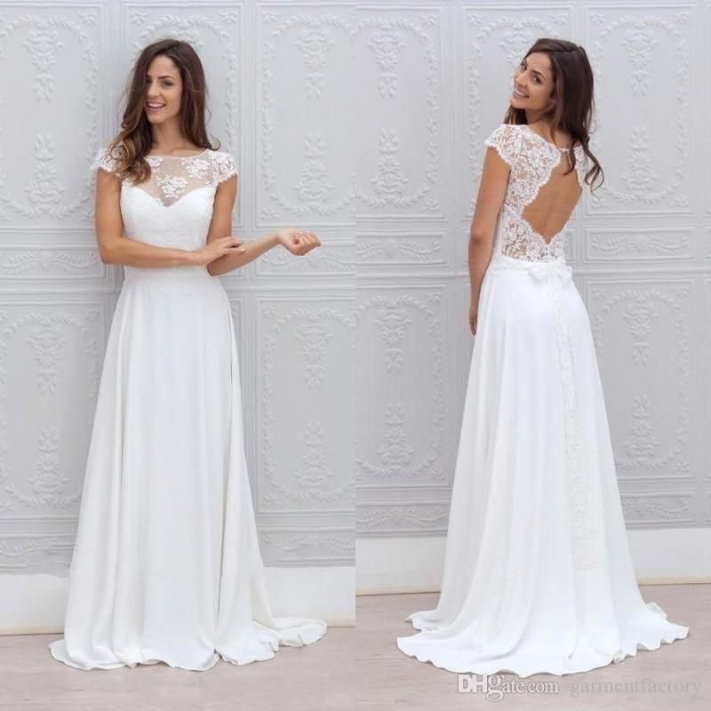 d57e1c2be7403 2016 Bohemian Wedding Dress Illusion Neckline Capped Sleeves A Line  Backless White Lace And Chiffon Flowy Sexy Beach Wedding Dresses Cheap  Wedding Dress ...