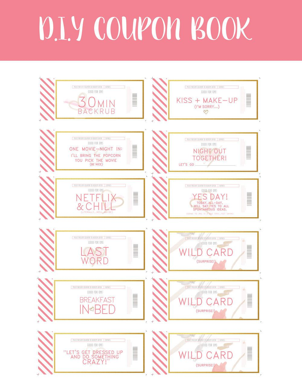 coupon book template for husband love coupons instant download by penandstock on etsy