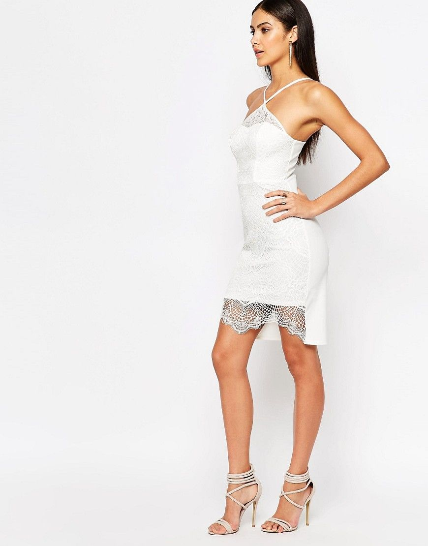 4d105d77125 Buy Lipsy Women's Ariana Grande For White Sculpted Lace Pencil Dress - White,  starting at £16. Similar products also available. SALE now on!