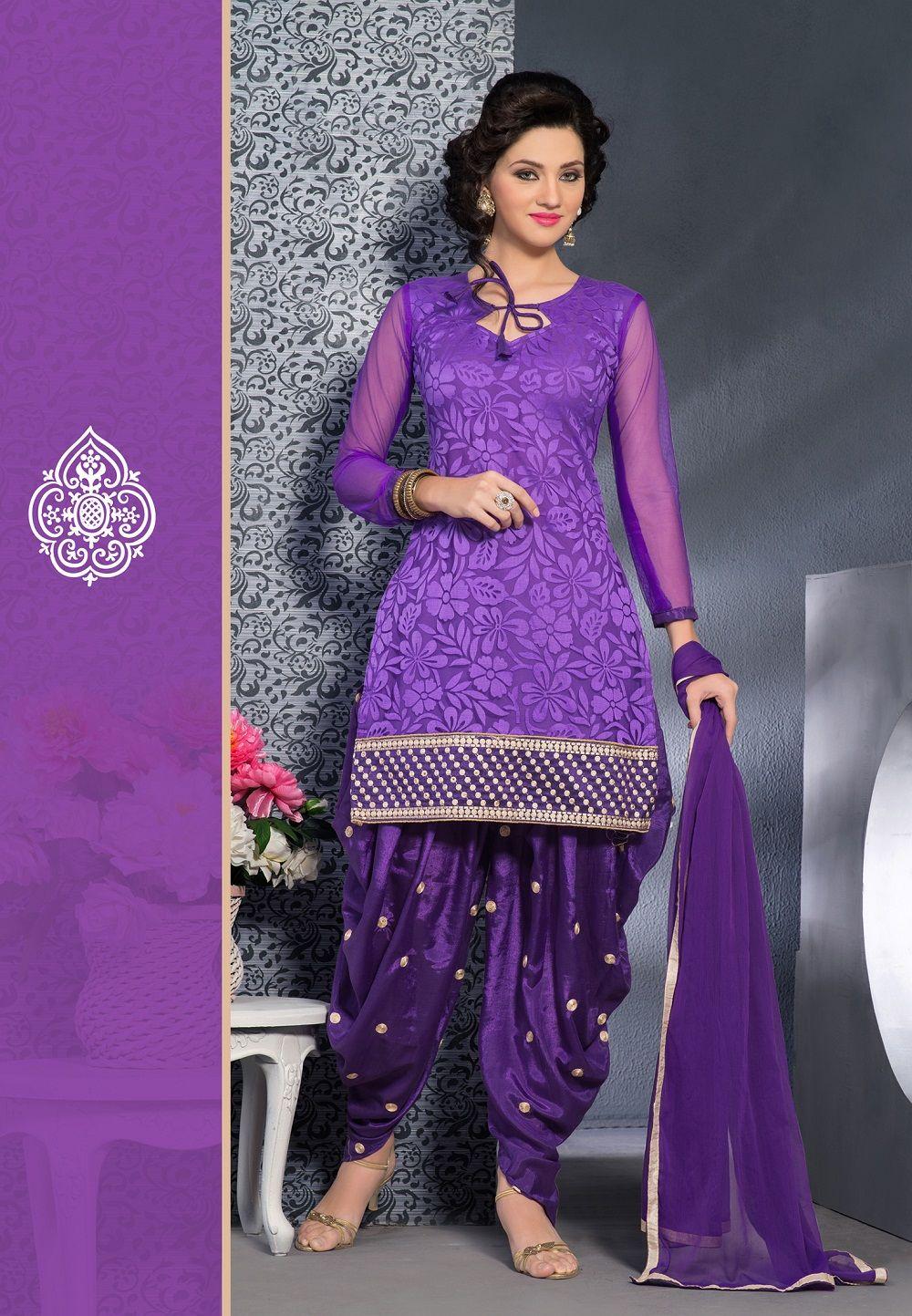 c17d39bc10 Purple shades brasso #designer #punjabisuit comes with purple chiffon  dupatta.