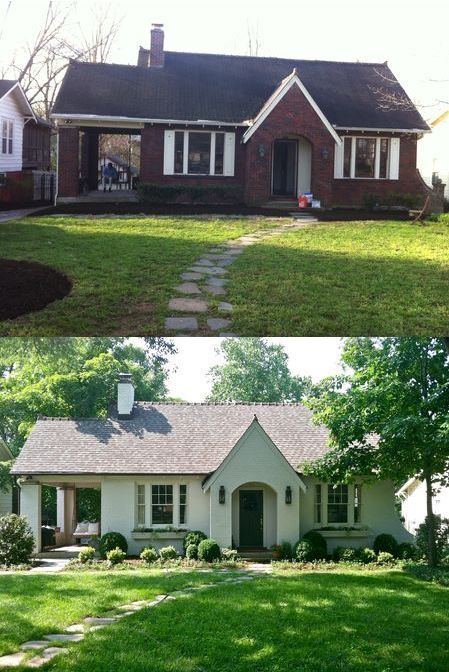 Before After Painting A Brick House Painted Brick House Home