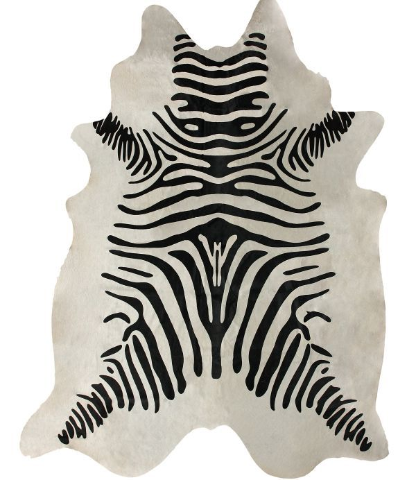 Rugs USA Silk Screen Zebra Cowhide White Rug