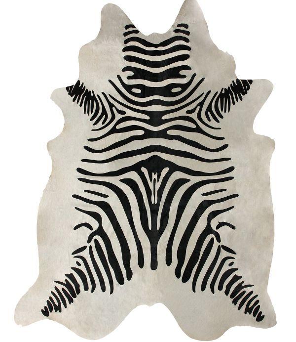 Zebra Rug Faux: Rugs USA Silk Screen Zebra Cowhide White Rug