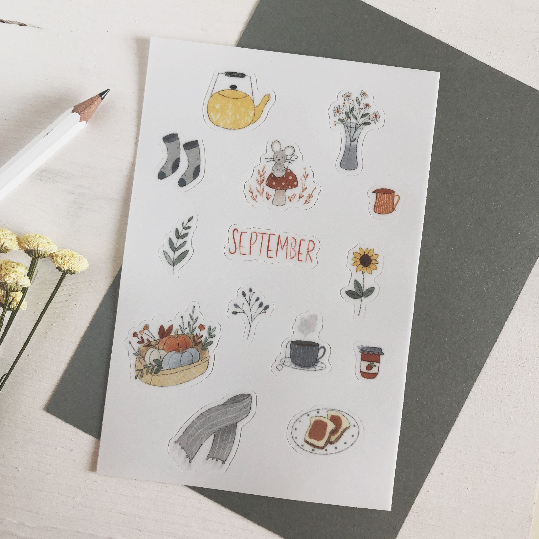 September Sticker Sheet Bullet Journal Accessories Etsy Autumn Stickers Sticker Sheets Bullet Journal Accessories
