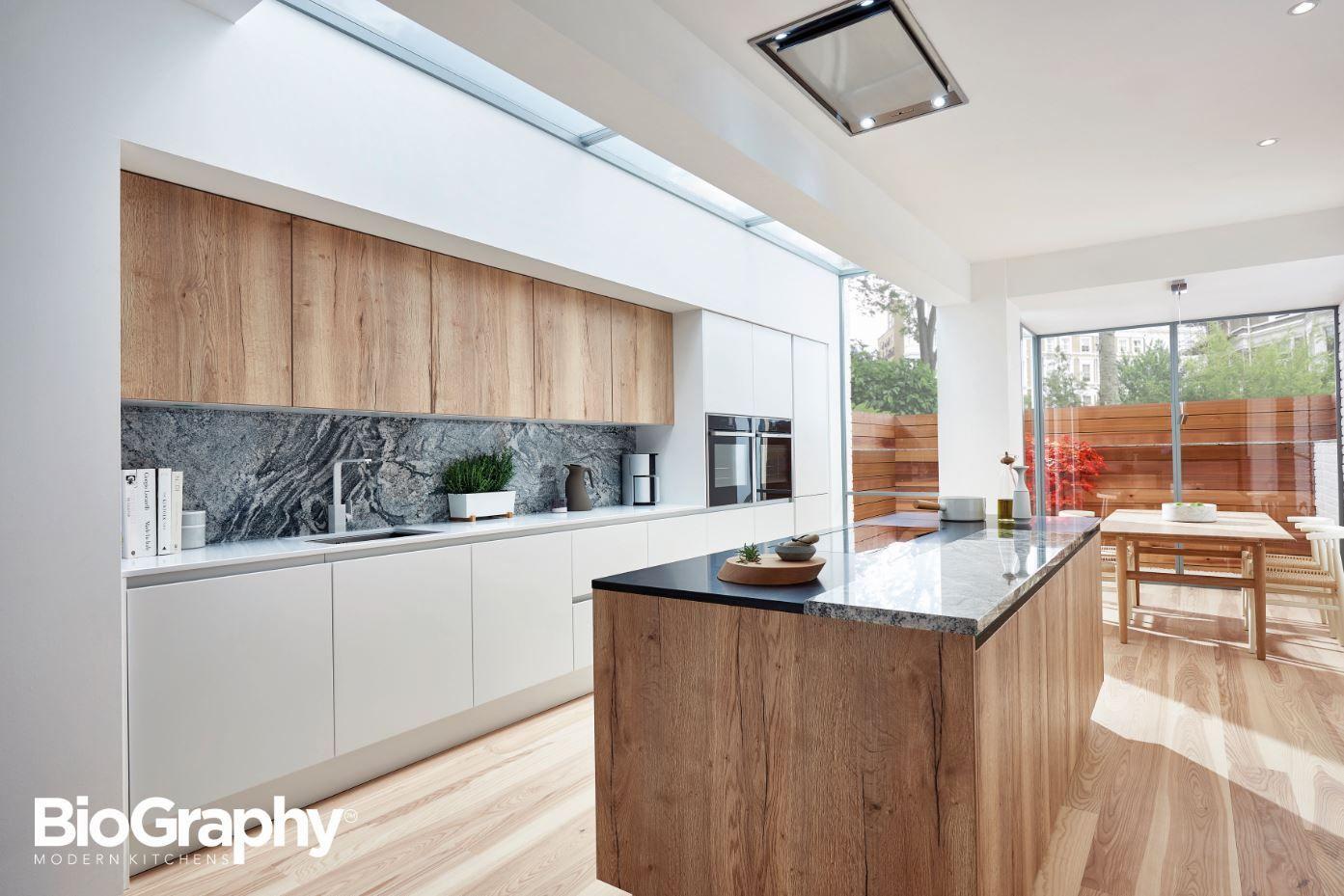Elegant Porter Matt White And Reclaimed Oak Handleless Rail Doors From BioGraphy  Kitchens. Design Inspirations