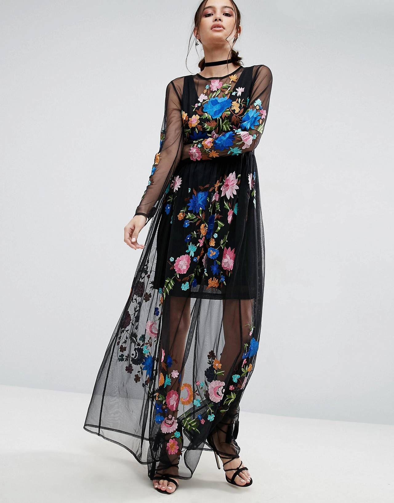 b26f244aec254 PREMIUM Maxi Dress in Pretty Embroidered Mesh