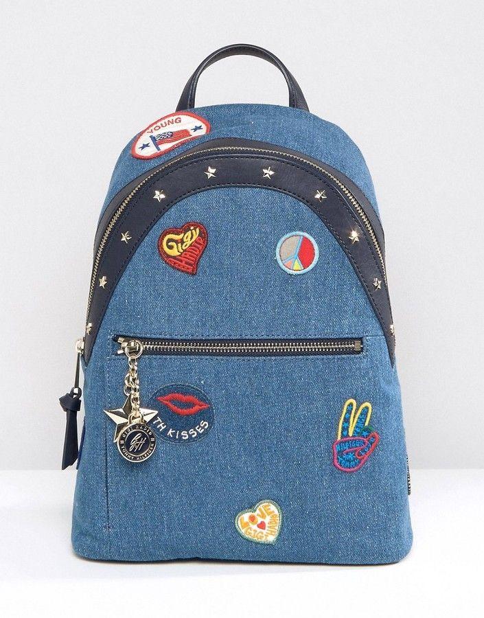 tommy hilfiger gigi hadid denim patch backpack top brands bags