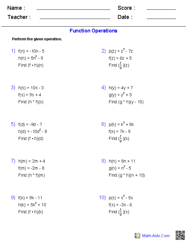 Function Operations Worksheets | hifsa | Pinterest | Worksheets ...