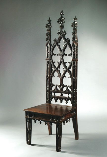Medieval And Gothic Home Furniture | Image Of Gothic Revival Mahoganized  Oak Hall Chair