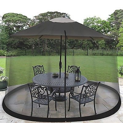 Privacy Screens Windscreens 180991: 9 Outdoor Umbrella Table Screen Black.  Mosquito Bug Insect Pest
