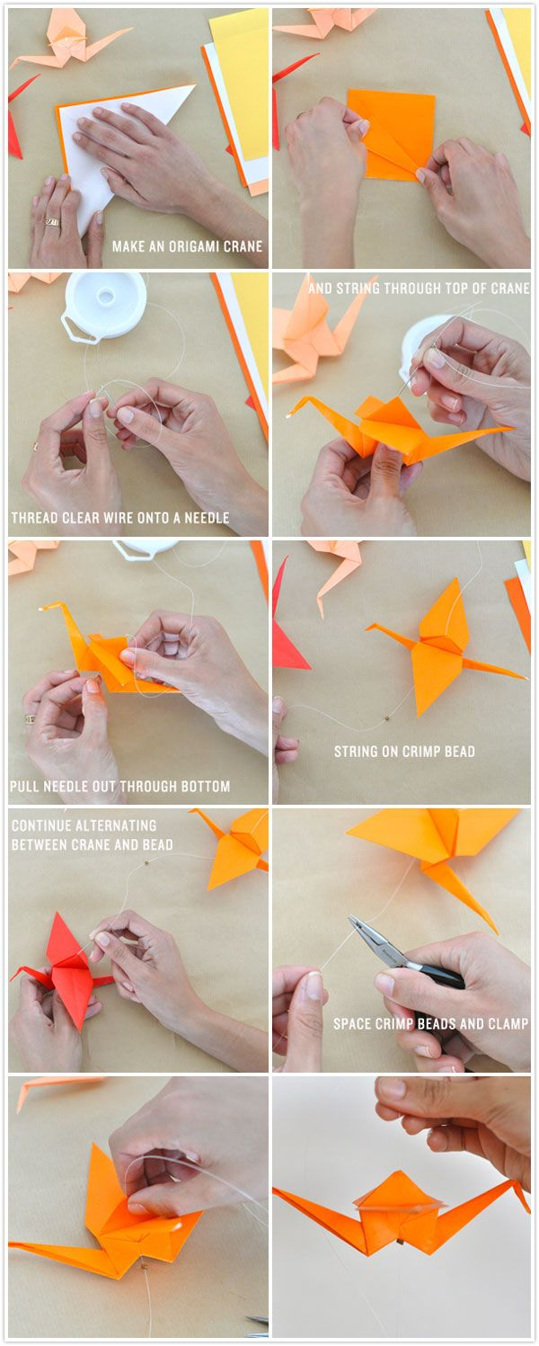 Diy ombr crane garland origami cranes streamers and origami diy craft how to make an origami crane garland streamer hanging installation jeuxipadfo Choice Image