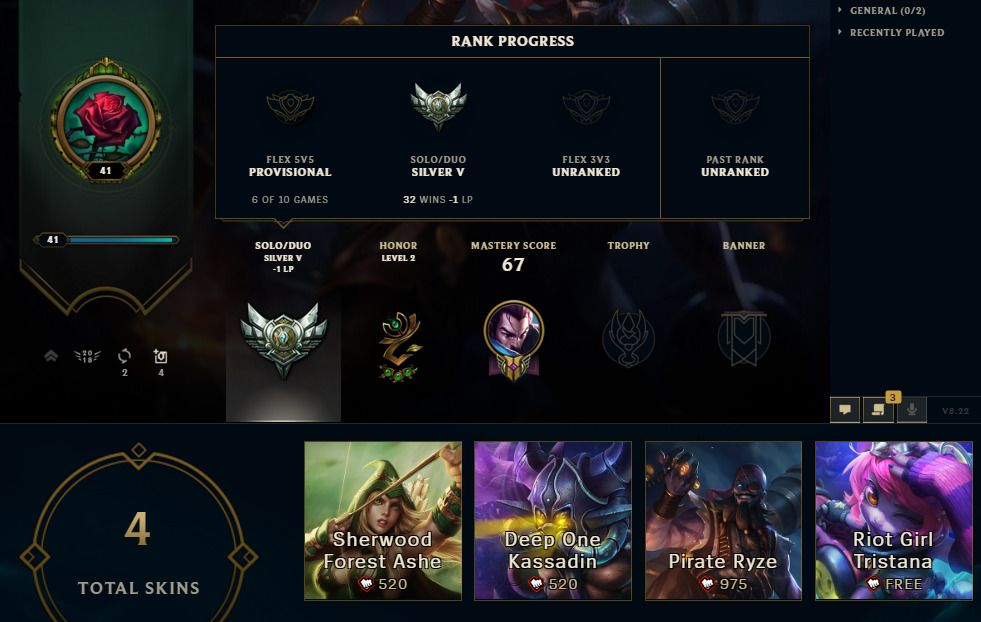 League of Legends Account | NA | Silver 5 | 23 Champions 4
