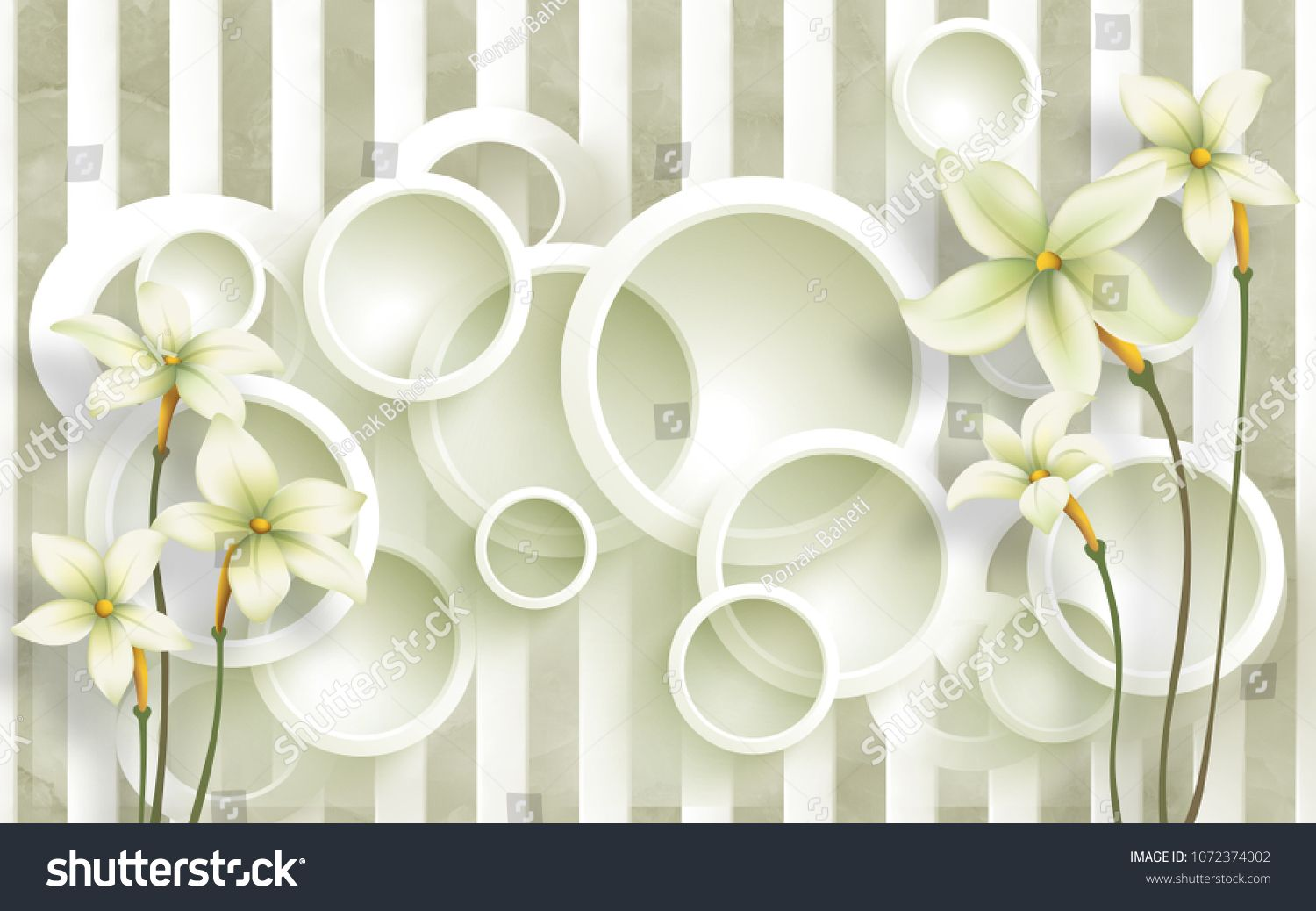 3d Circle Background With Flowers Background Wallpaper Flower Background Wallpaper Flower Backgrounds Stock Illustration