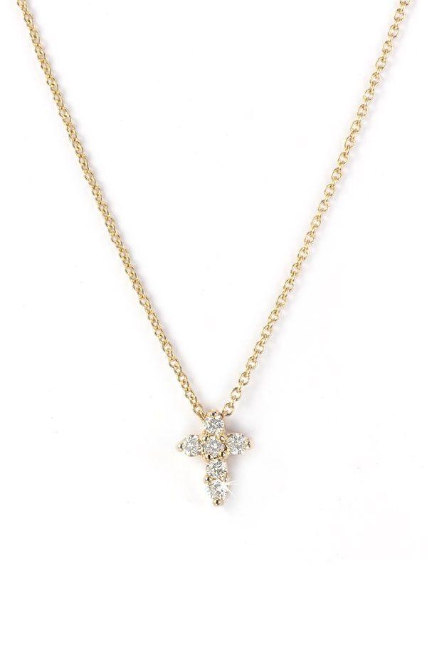Tiny diamond cross necklace yellow diamond necklaces pinterest tiny diamond cross necklace yellow mozeypictures Choice Image