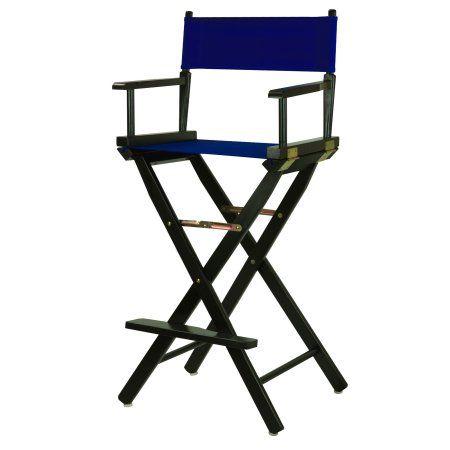 30 Inch Directoru0027s Chair Black Frame Royal Blue Canvas