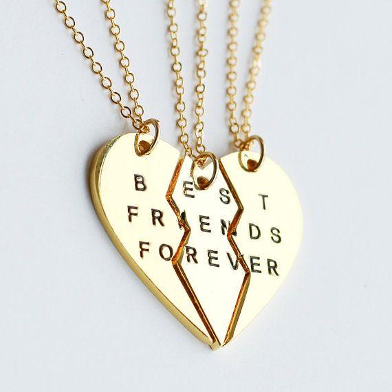 Gold Best Friends Necklace Best Friend Forever Necklace Jewrlry Broken Heart Set Friendship Necklace Christmas Bff Jewelry Friend Necklaces Friend Jewelry