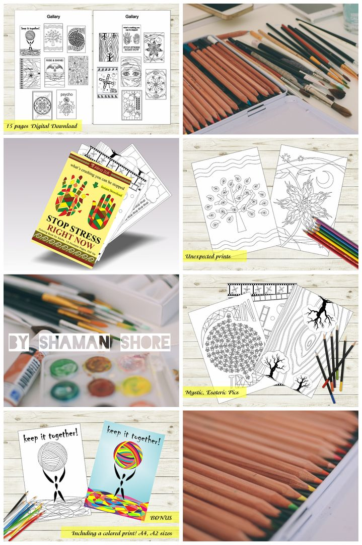 Anti Stress Art Therapy Coloring Book Surreal Pictures To Color Adult Pages
