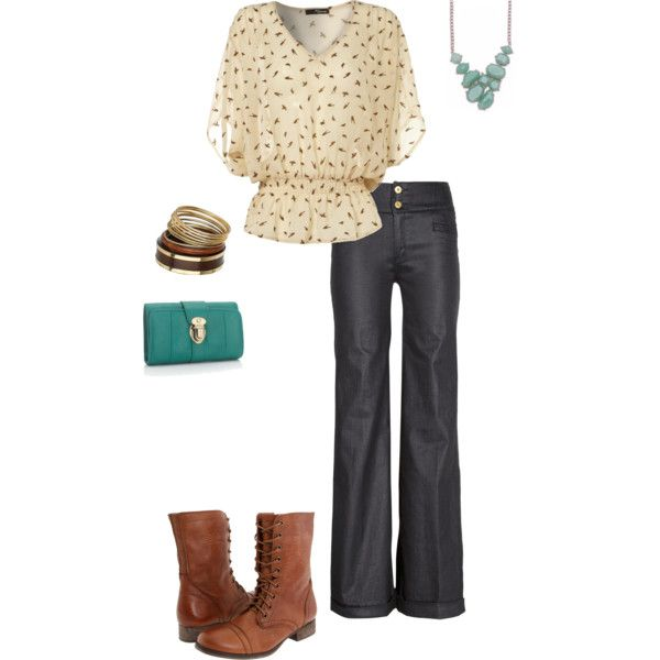 Blouse trousers boots turquoise...got the boots already! Love the rest. Feminine but not overly frilly