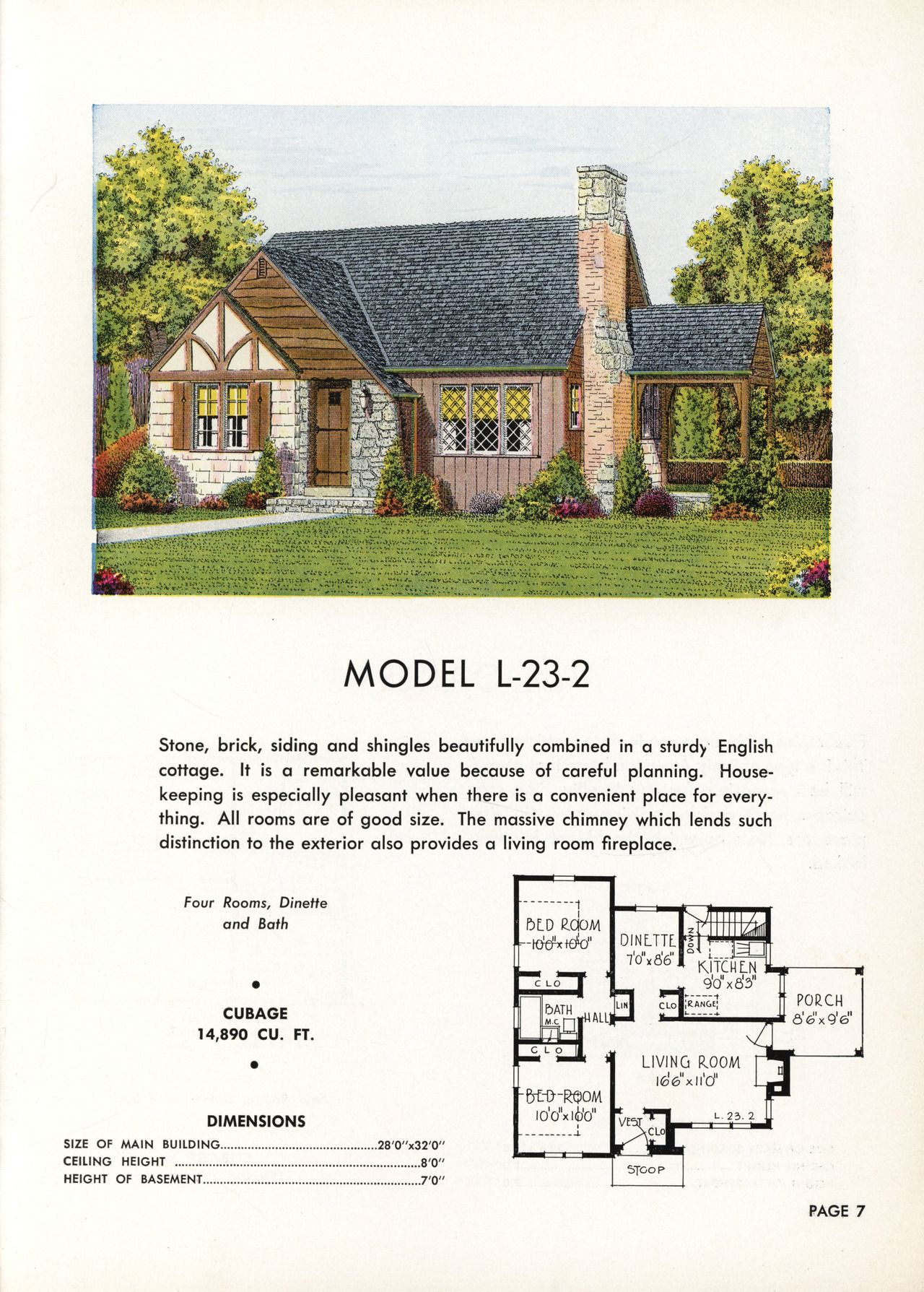 United States 1941 Model L 23 2 An English Style Cottage With An Exceptional Number Of Exterior Finish Materials S House Plans Cottage Exterior Vintage House
