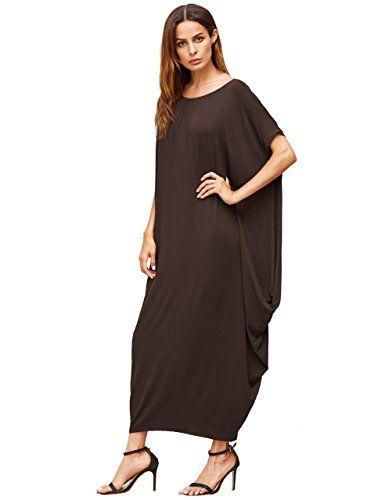 2b2c9b5e1e4 Verdusa Womens Boho One Off Shoulder Caftan Sleeve Harem Maxi Dress Brown L  -- Learn more by visiting the image link.