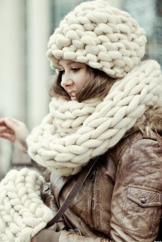шапки крупной вязки из мериноса толстая пряжа своими руками