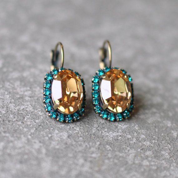 Champagne Teal Rhinestone Earrings Swarovksi Crystal by MASHUGANA