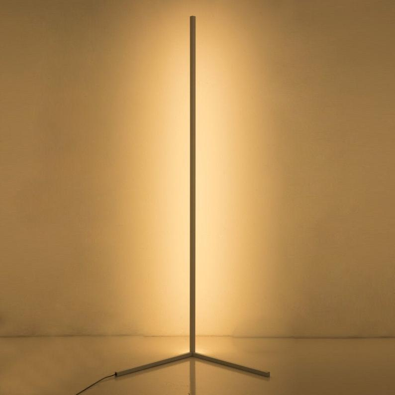 The Rue Warm White Minimalist Led Corner Floor Lamp Etsy In 2020 Corner Floor Lamp Lamp White Floor Lamp