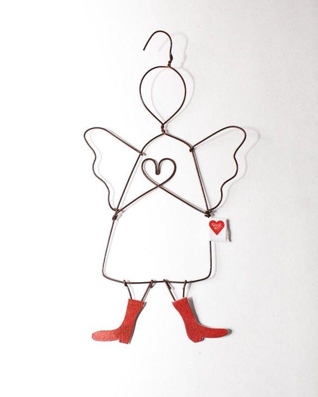 Überrasche deine Freunde mit einem Herz-Schutzengel aus Draht ...