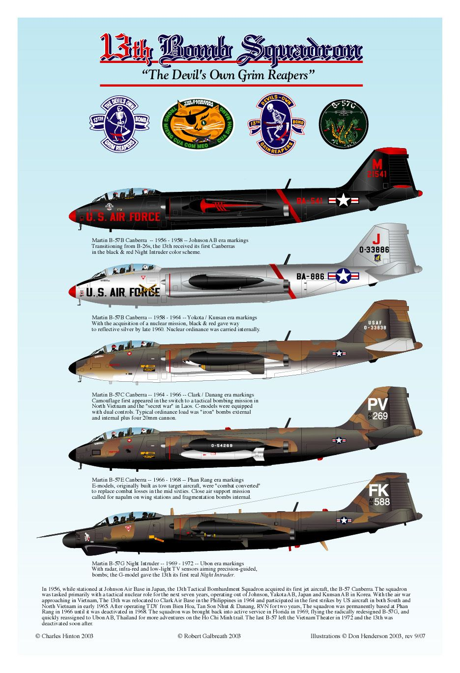 B-57 Canberras of the 13th Bomb Squadron  | Flight in many
