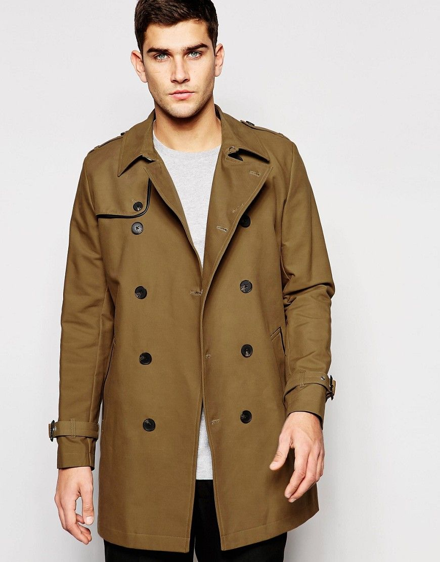 ASOS+Shower+Resistant+Double+Breasted+Trench+in+Tobacco