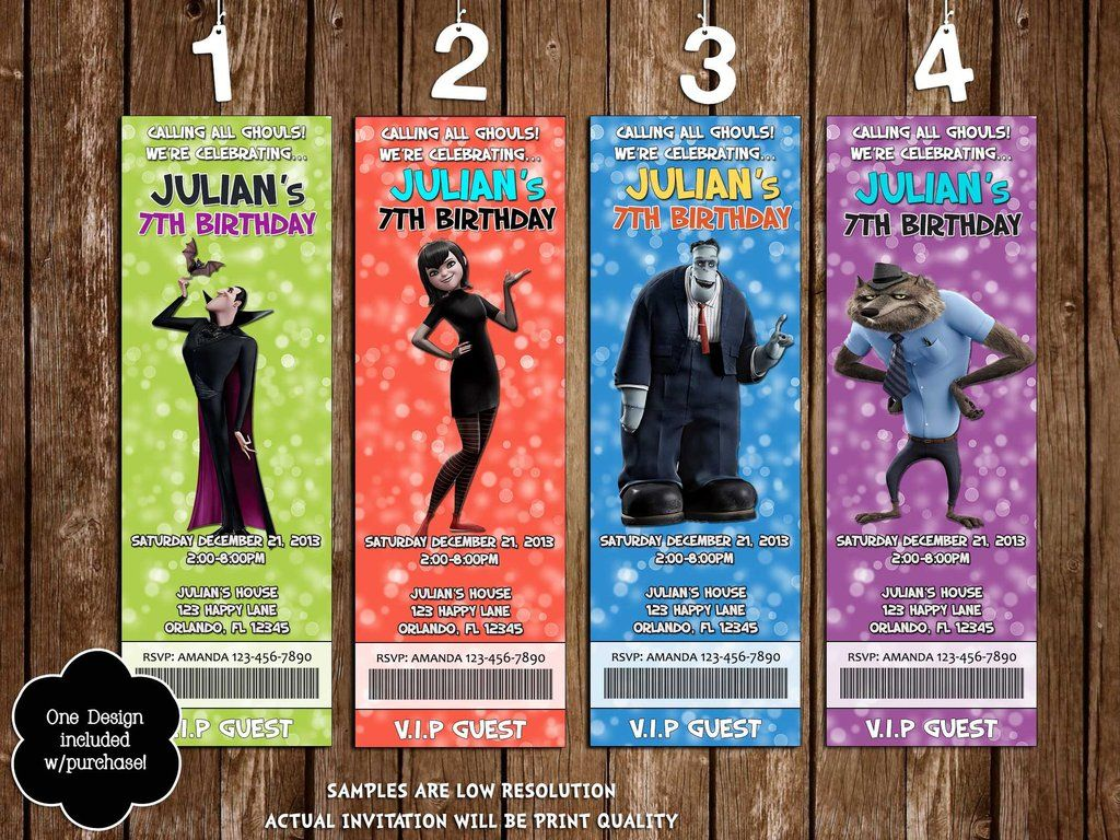 Hotel Transylvania 2 Birthday Party Ticket Invitation 4 Designs