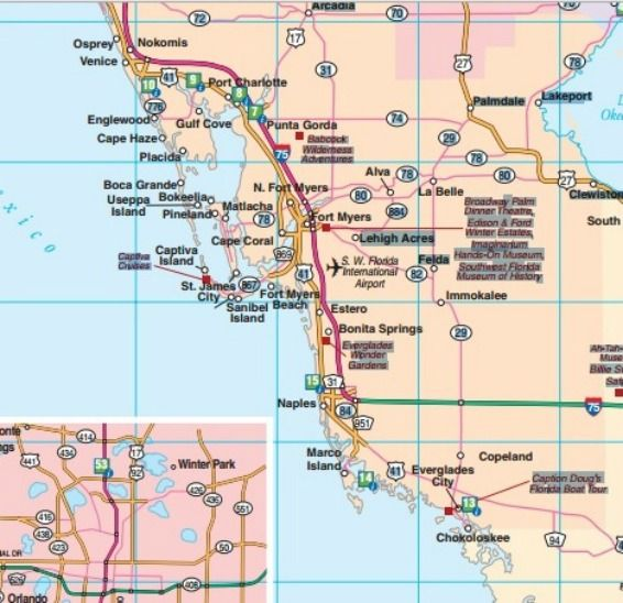 Southwest Florida road map showing main towns cities and highways