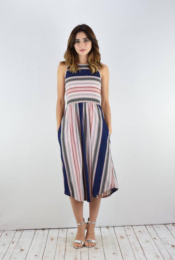 203564a240e42 Striped Midi Dress With Side Pocket