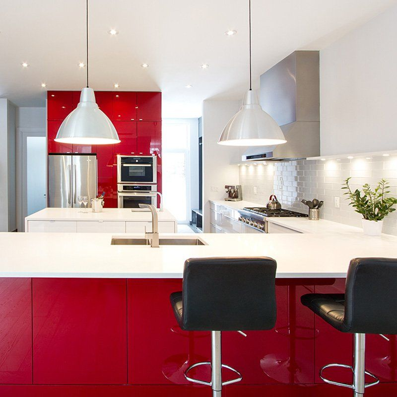 Red High Gloss Kitchen: Modern High Gloss Red & White Kitchen