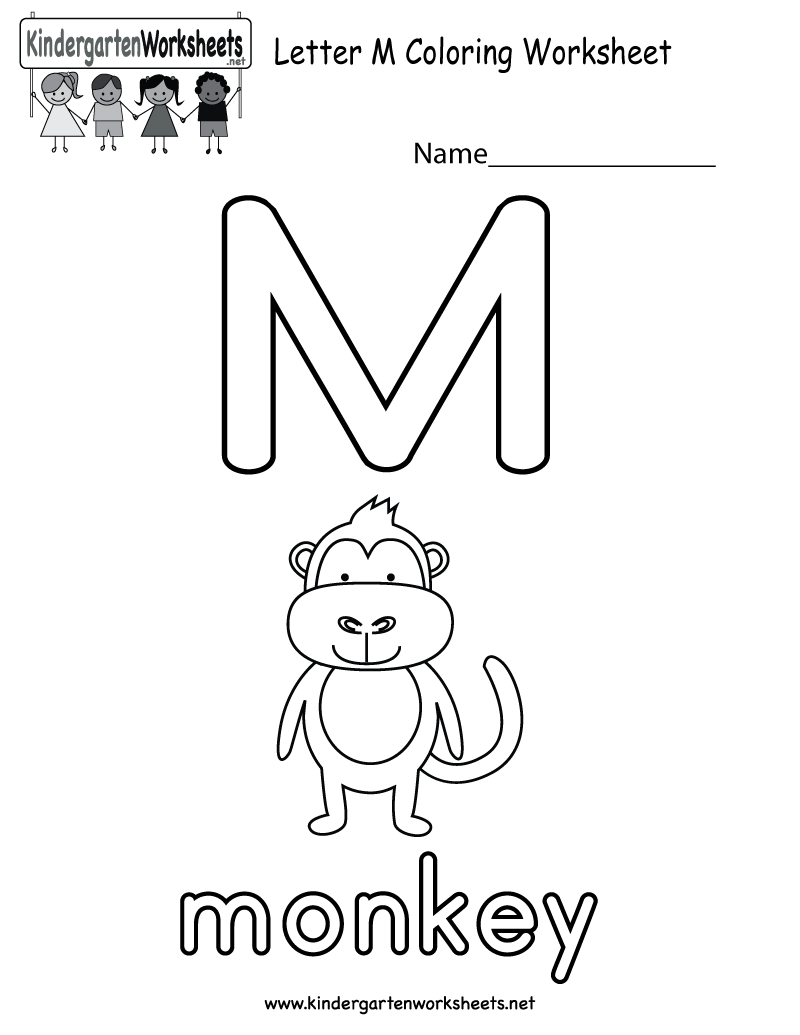 Letter M coloring worksheet for kids who are learning the
