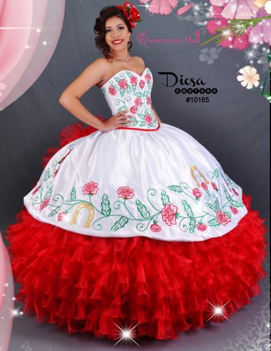 6a994d25630 This beautiful quinceanera dress with red roses is perfect for a charra or  western theme with it s beautiful white with red roses charra dress is  stylish ...