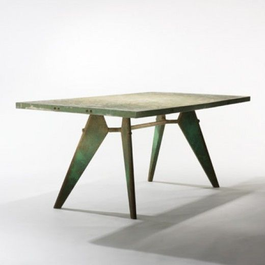 Tropique dining table, model 503, Manufactured by Les Ateliers Jean Prouvé, France. During the 1950s Jean Prouvé acquired numerous commissions in Africa; this table design was utilized in many of them in varying sizes, construction methods and materials. Adapting the design for its environment in Dakar, Senegal, this table with an aluminum top was constructed to endure the hot climate of Africa. 1951