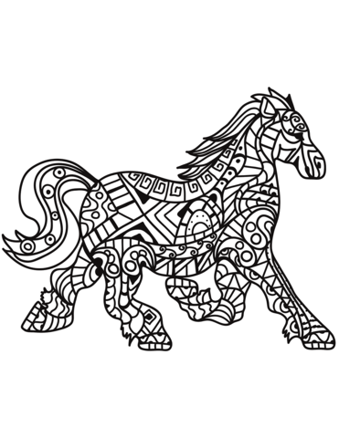 Running Horse Zentangle Coloring Page Horse Coloring Pages Coloring Pages Colouring Pages