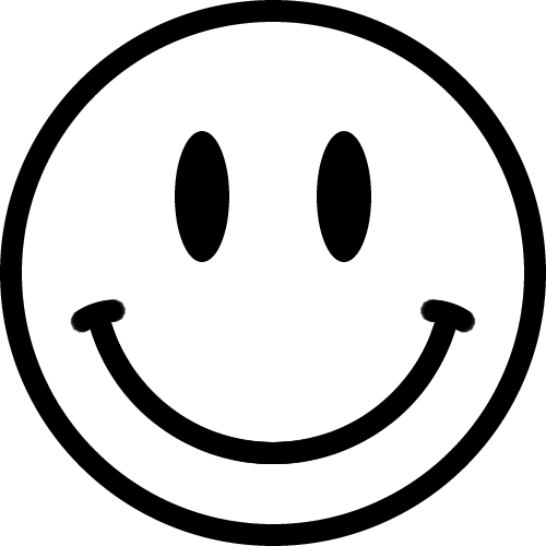 スマイルマークのイラスト白黒 A E S ニコちゃんマーク
