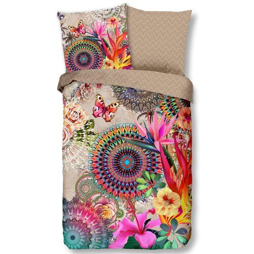 Bay Isle Home The 100% cotton satin duvet cover Ringling is part of the HIP collection which exists of duvet covers in eye-catching prints and colour combinations. The duvet cover is made of 100% cotton satin which almost doesn't wrinkle and has a delicate glow. Additionally, the fabric feels very comfortable and soft on your skin. This duvet cover has a print on both sides and a zipper. Size: European Double - 1 Pillowcase (60 x 70 cm)