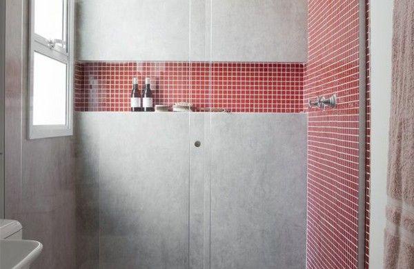 Badezimmergestaltung Mit Fliesen Wandfliesen Rot Beton Bad Pinterest